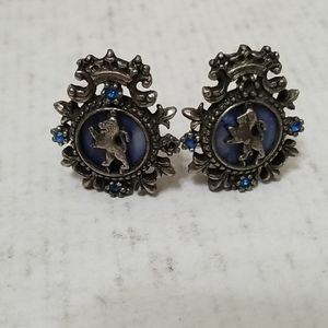 Vintage silver and blue lion crest earrings